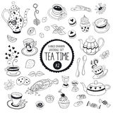 Tea time doodle elements. Doodle tea time elements collection. Vector set of tea icons. Teapots, cups, cupcakes and sweets Royalty Free Stock Photo