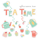 Tea Time Doodle Illustration Pastel Color Vector Royalty Free Stock Image