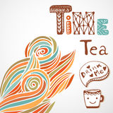 Tea time. Doodle lettering with cute cup. Autumn Royalty Free Stock Images