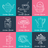 Tea time  doodle set. Sketch. Royalty Free Stock Images