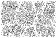 Tea time doodles hand drawn sketchy vector symbols Stock Photos