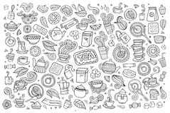Tea time doodles hand drawn sketchy vector symbols Royalty Free Stock Photo