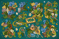 Tea time doodles hand drawn sketchy vector symbols Royalty Free Stock Photography