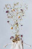 Tea time. Dry herbal floral tea on the gray background Stock Photography