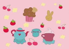 Tea time elements royalty free illustration