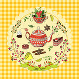 Tea time elements. Vector illustration with cute elements for tea party Royalty Free Stock Photo