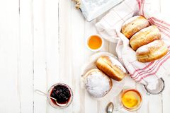 Tea time with festive sufganiyot donuts Stock Image