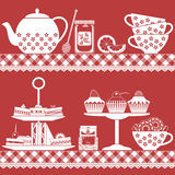 Tea time with finger food red and white Royalty Free Stock Image