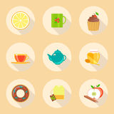 Tea time flat design icons set. template elements Stock Photos