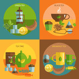 Tea time 4 flat icons square composition. English afternoon black and green tea time 4 flat icons square composition banner abstract isolated vector illustration Royalty Free Illustration