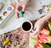Tea time flat lay Royalty Free Stock Images