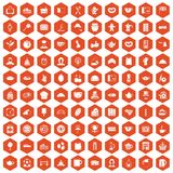 100 tea time food icons hexagon orange Royalty Free Stock Images
