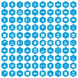 100 tea time food icons set blue. 100 tea time food icons set in blue hexagon isolated vector illustration Royalty Free Stock Image