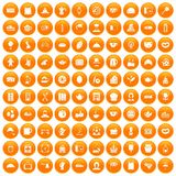100 tea time food icons set orange. 100 tea time food icons set in orange circle isolated on white vector illustration vector illustration