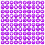 100 tea time food icons set purple. 100 tea time food icons set in purple circle isolated on white vector illustration Royalty Free Stock Photography