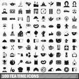 100 tea time food icons set in simple style. For any design vector illustration Stock Images
