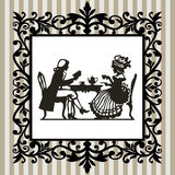 Tea time with frame. Retro victorian illustration, man and woman drinking tea and leasing book in a decorative frame Royalty Free Stock Photos