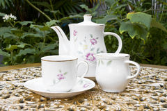 Tea Time in the Garden with Desert Rose Flower Royalty Free Stock Photo