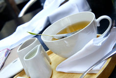 Tea Time - Green Organic Tea, White Tea Service Royalty Free Stock Photo