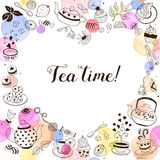 Tea time greeting card. Tea time invitation concept. Tea party card design. Hand drawn doodle frame with teapots, cups and sweets Stock Photos