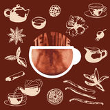 Tea Time hand drawn set Stock Images