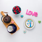 Tea time with homemade Valentines day cookies and Love Royalty Free Stock Images