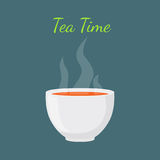 Tea time - hot drink. White cup, morning beverage. Royalty Free Stock Photos