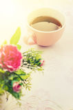 Tea time, Hot tea with artificial flower Royalty Free Stock Photo