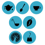 Tea time icon designs Stock Photos