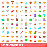 100 tea time icons set, cartoon style Royalty Free Stock Images
