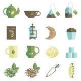 Tea time icons set flat Stock Photography