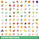 100 tea time icons set, isometric 3d style. 100 tea time icons set in isometric 3d style for any design illustration royalty free illustration