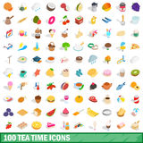 100 tea time icons set, isometric 3d style Stock Photo