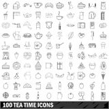 100 tea time icons set, outline style Stock Images