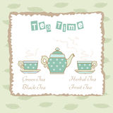 Tea time illustration. Decorative background with illustration of teapot and cups royalty free illustration