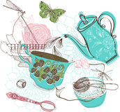 Tea time illustration with flowers Stock Photo