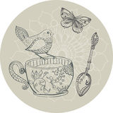 Tea time illustration with flowers and bird Royalty Free Stock Image