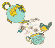 Tea time illustration with flowers and bird Stock Image