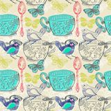 Tea time illustration with flowers and bird, seamless pattern Royalty Free Stock Photo