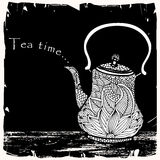 Tea time illustration. With tea pot and typography Royalty Free Stock Image
