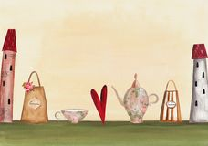 Tea time invitation. Artistic work. Acrylic and watercolors on paper Stock Images