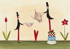 Tea time invitation. Artistic work. Acrylic and watercolors on paper Royalty Free Stock Photography