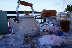 Tea time on the landscape Royalty Free Stock Images