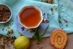 Tea time and lemon Royalty Free Stock Photography