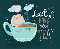 Tea time lettering and cute cartoon baby girl. Hand drawn illustration Stock Photos