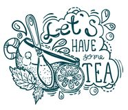 Tea time lettering. Hand drawn illustration Royalty Free Stock Photos