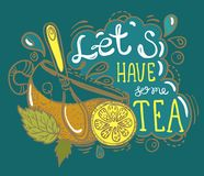 Tea time lettering. Hand drawn illustration Stock Photography