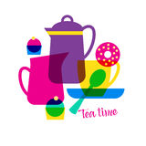 Tea time with lettering. Royalty Free Stock Images