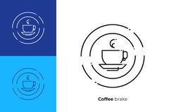 Cup of cofee hot drink line art vector icon stock illustration