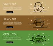 Tea time line vector web banners set Stock Images